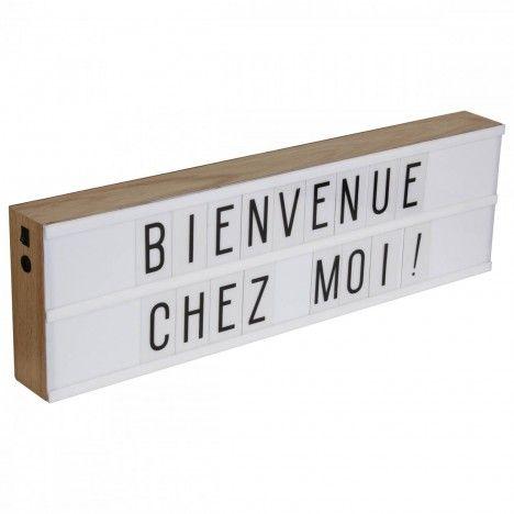 Boîte lumineuse déco murale bois 2 lignes + 130 lettres -