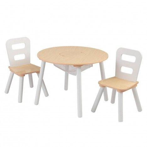 Table et 2 chaises enfant blanc et bois -
