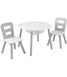 Table et 2 chaises enfant blanc et gris clair