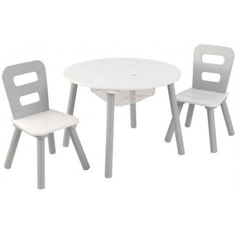 Table et 2 chaises enfant blanc et gris clair -