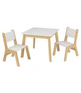 Table et 2 chaises enfant blanc et bois