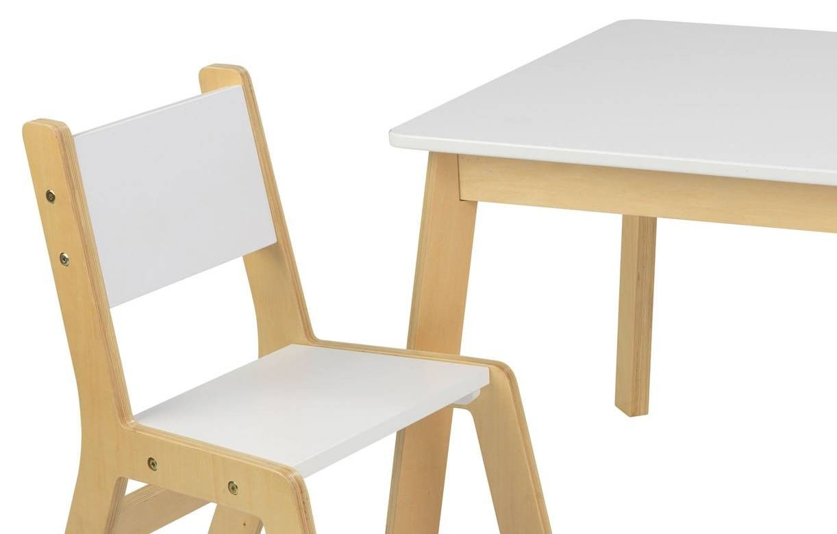 table et 2 chaises enfant scandinave bois clair et blanc. Black Bedroom Furniture Sets. Home Design Ideas