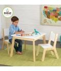 Table et 2 chaises enfant style scandinave bois clair et blanc -