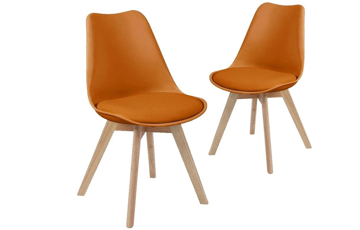 Chaise Design Scandinave Orange En Bois Massif Lot De 2