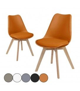 Chaise design scandinave en bois massif - Lot de 2 -