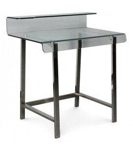 Bureau en verre et pieds bois ou métal noir