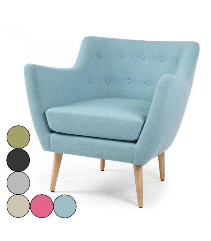 fauteuil scandinave bleu clair en tissu. Black Bedroom Furniture Sets. Home Design Ideas