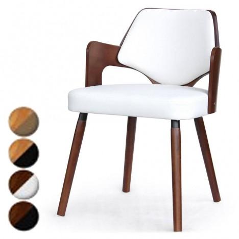 Chaise scandinave bois foncé et blanc