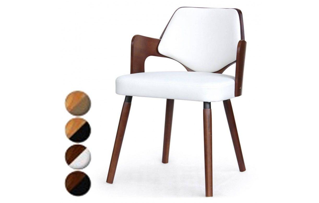 chaise scandinave bois et simili cuir dimy lot de 2 - Chaise Scandinave Cuir