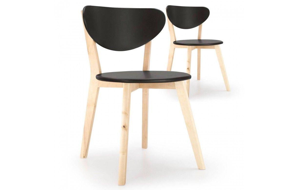 Chaise scandinave noir et bois clair lot de 2 - Chaise noir et bois ...