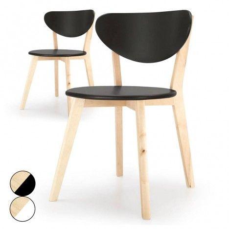 Chaise en bois noire ou blanche style scandinave Canady Wood -