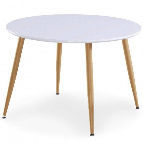 Table blanche ronde avec pieds bois clair style scandinave