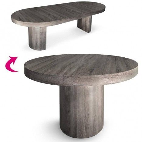Table effet chene vieilli ronde extensible suzy for Meuble table ronde extensible