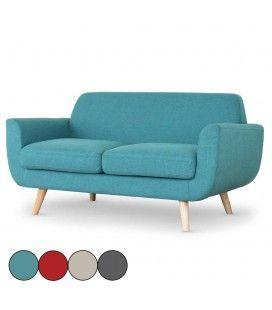 Canapé 2 places style scandinave tissu et pieds bois Danuby