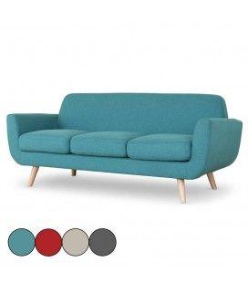 Canapé 3 places tissu scandinave avec pieds bois clair Danuby