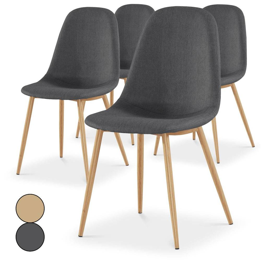 lot de 4 chaises scandinaves beige ou gris fonc gao - Chaise Scandinave Beige