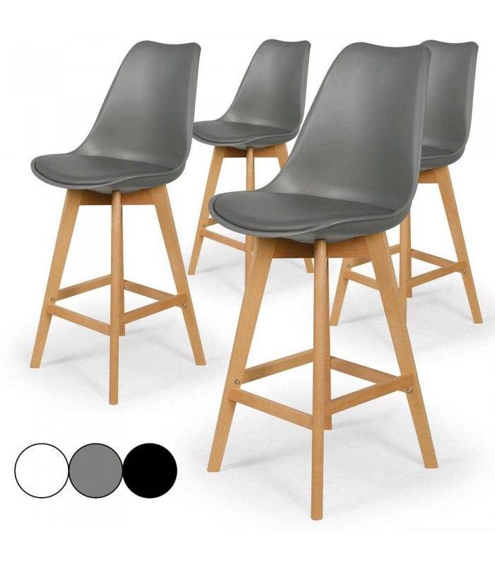 chaise de bar style eames lot de 4. Black Bedroom Furniture Sets. Home Design Ideas