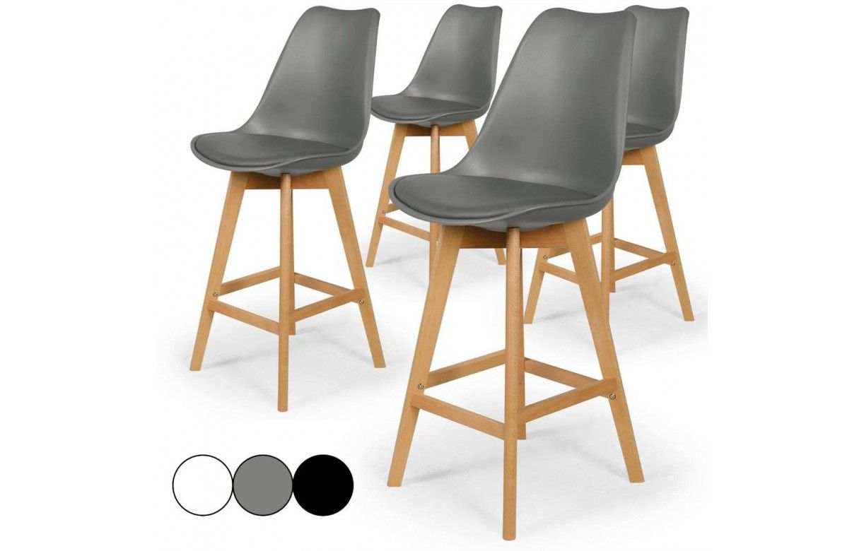 Chaise de bar style eames lot de 4 for Chaise de style