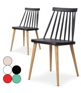 Lot de 2 chaises style bistrot scandinave - 5 coloris -