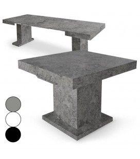 Table extensible béton ciré blanche ou noire Mustang -