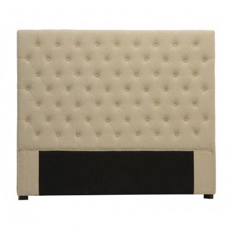 Tête de lit capitonnée en tissu lin 160 cm Amely -