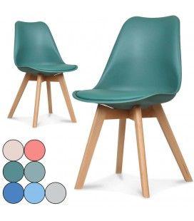 Chaise scandinave et pieds en bois Norway - Lot de 2