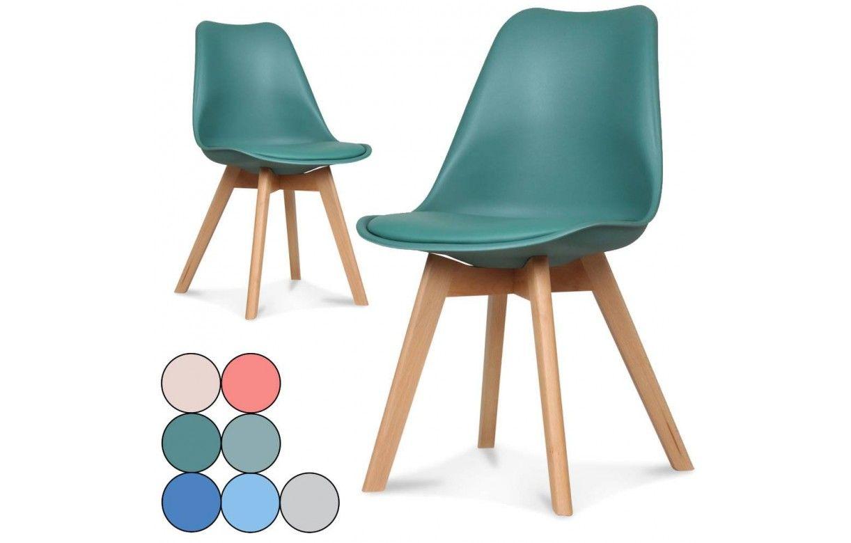 chaise scandinave color e et pieds bois norway lot de 2. Black Bedroom Furniture Sets. Home Design Ideas