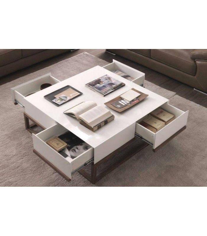 table basse en hetre massif et plateau laque gris ou blanc 4 tiroirs freya