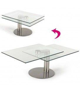 Table basse en verre 2 plateaux modulables haut de gamme Batya