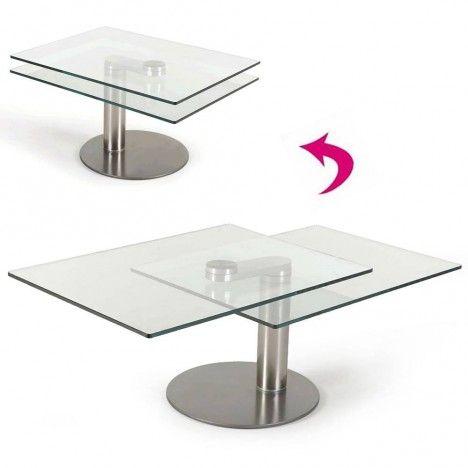 Table basse en verre 2 plateaux modulables haut de gamme batya for Table haute en verre