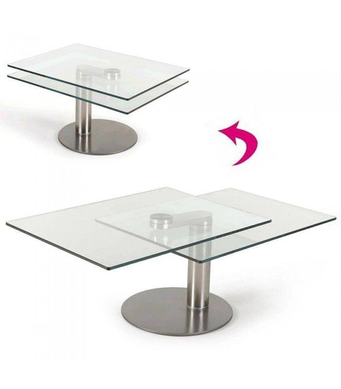table basse en verre 2 plateaux modulables haut de gamme batya. Black Bedroom Furniture Sets. Home Design Ideas