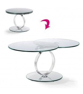 Table basse ronde extensible en verre trempé 12mm Brina