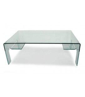 Table basse en verre 12mm design 2 tablettes de rangement Balyra