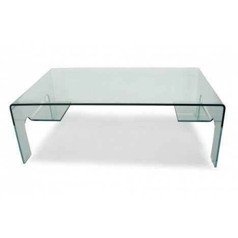 Table basse en verre 12mm design 2 tablettes de rangement Balyra -