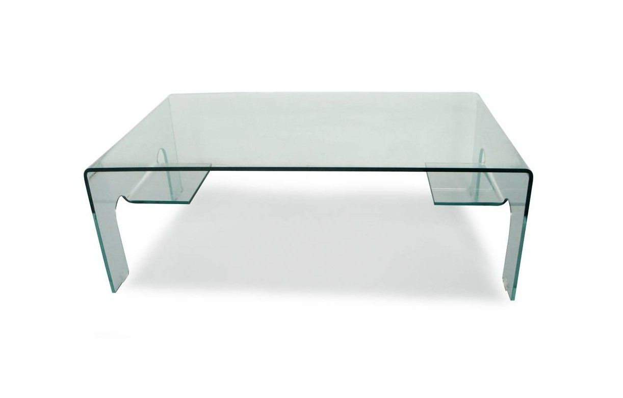 Table Basse En Verre 12mm Design 2 Tablettes De Rangement