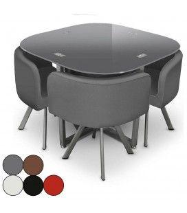 Table en verre et 4 chaises encastrables en cuir PU - 5 coloris -