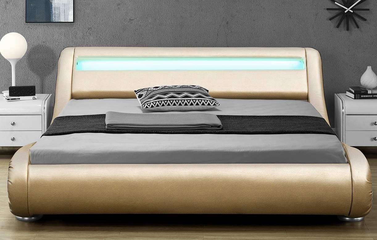 lit simili cuir or gold 140x190 sommier bande led light. Black Bedroom Furniture Sets. Home Design Ideas