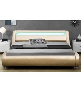 Lit 180x200 Or gold simili cuir + sommier + bande LED Light -