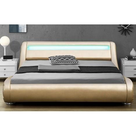 Lit 180x200 Or gold simili cuir + sommier + bande LED Light -
