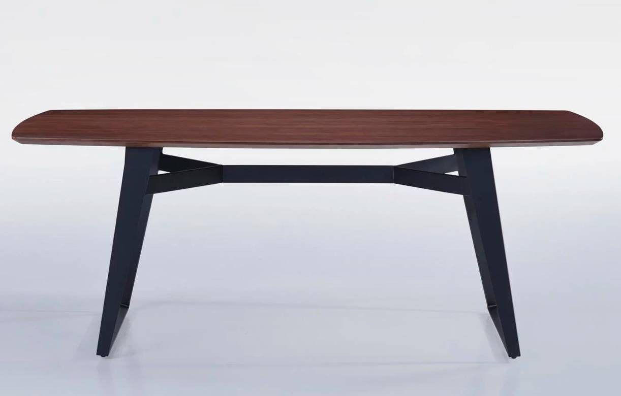 Table rectangle en bois massif hevea noyer 200 cm for Table salle a manger noyer massif
