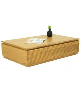 Table basse rectangle 2 tiroirs bois clair teck massif Etnic