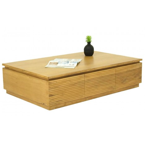 Table basse rectangle 2 tiroirs bois clair teck massif Etnic -