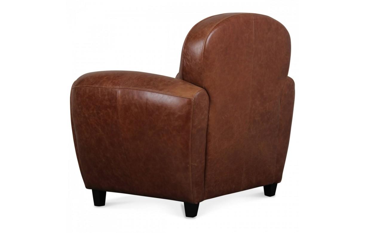 fauteuil club vintage marron en cuir de vachette nassau. Black Bedroom Furniture Sets. Home Design Ideas