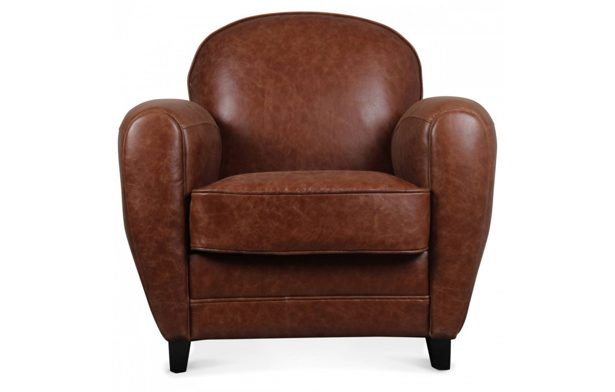 fauteuil club vintage marron en cuir de vachette nassau. Black Bedroom Furniture Sets. Home Design Ideas