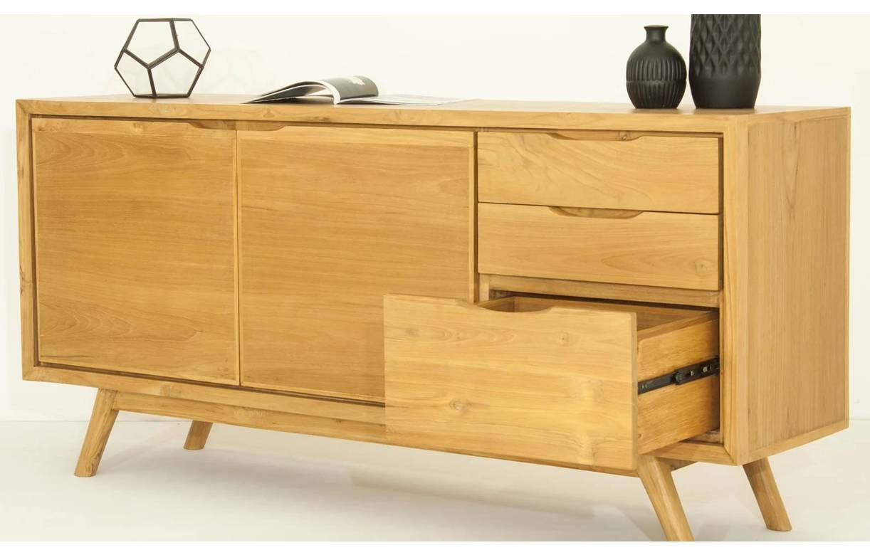 buffet en bois massif 3 tiroirs 2 portes teck naturel. Black Bedroom Furniture Sets. Home Design Ideas