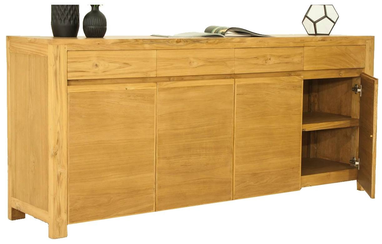 buffet en bois massif 4 portes 4 tiroirs teck naturel. Black Bedroom Furniture Sets. Home Design Ideas
