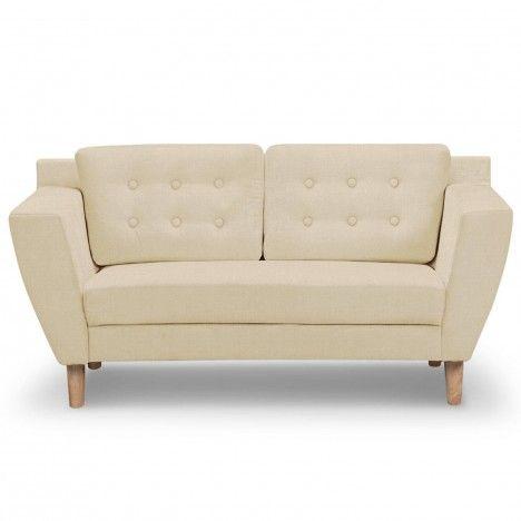 Canapé capitonné en tissu 2 places beige Giby -