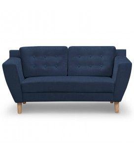 Canapé capitonné en tissu 2 places bleu Giby