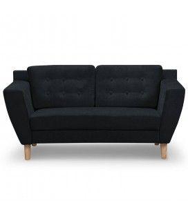Canapé capitonné en tissu 2 places noir Giby -