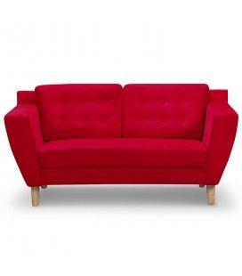 Canapé capitonné en tissu 2 places rouge Giby